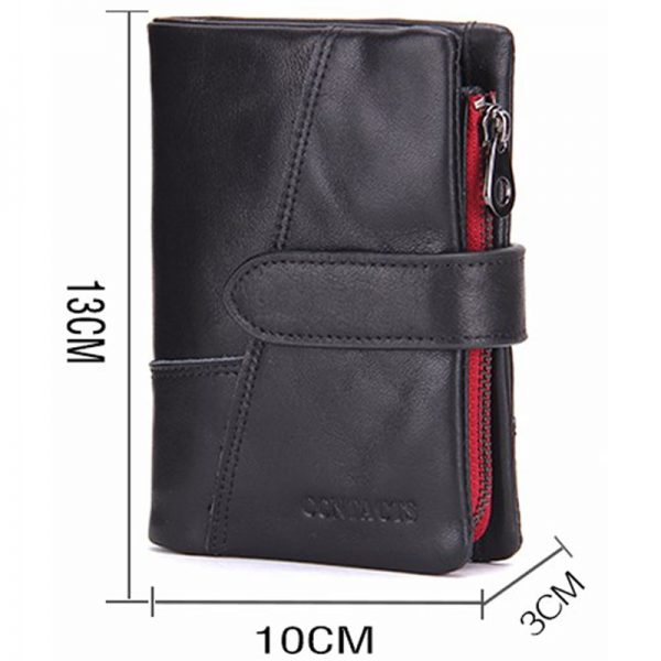 CONTACT S Business Style Fashion Genuine Leather Men Wallets Hasp Zip Men Purse With Coin Pocket