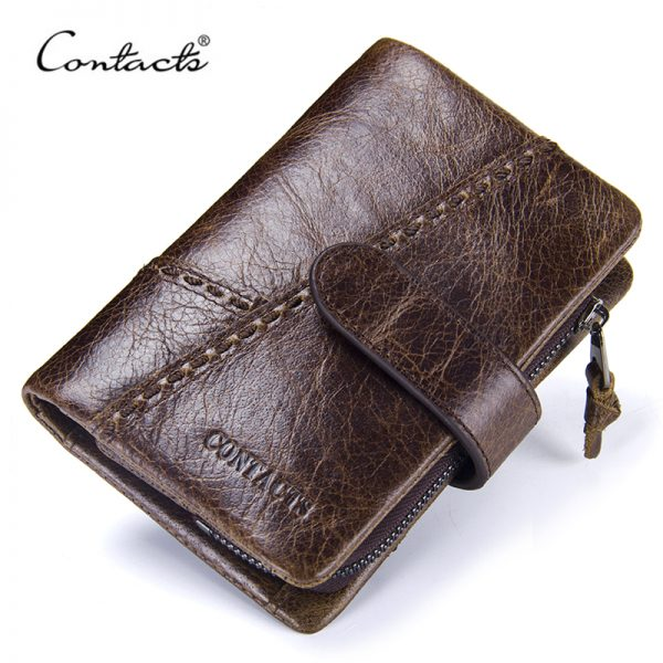 CONTACT S Casual Men s Genuine Leather Short Wallet Hasp Design Key Holders Clutch Purse With