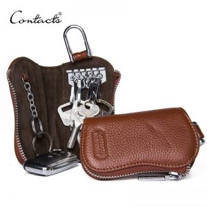 CONTACT S Cow Leather Keys Wallets For Men Mini Key Holder Women Fashion Key Purse Small