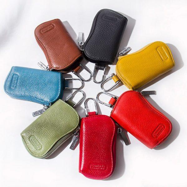 CONTACT S Cow Leather Keys Wallets For Men Mini Key Holder Women Fashion Key Purse Small