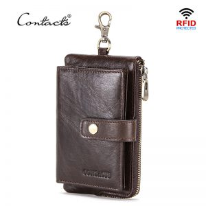 CONTACT S Genuine Leather men key wallet with zipper coin purse credit card holder rfid short