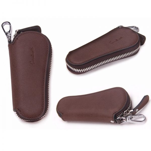 CONTACT S Men Genuine Cow Leather Bag Car Key Wallets Fashion Women Housekeeper Holders Carteira Keychain