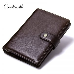 CONTACT S Top Quality Genuine Cow Leather Wallet Men Hasp Design Short Purse With Passport Photo