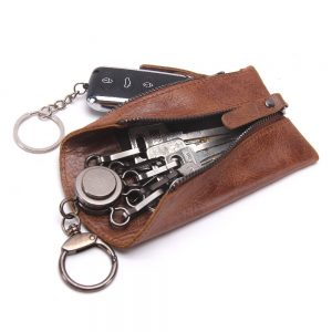 CONTACT S Vintage Genuine Leather Key Wallet Women Keychain Covers Zipper Key Case Bag Men Key