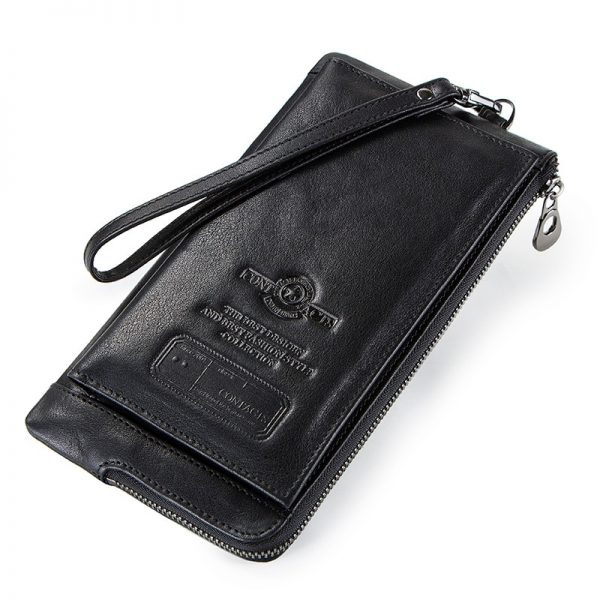 CONTACT S Wristlet Bag Genuine Leather RFID Cellphone Wallet Men s Clutch Wallets Men Credit Card