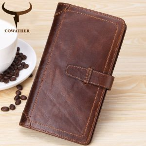 COWATHER  cow genuine leather wallet men high quality men wallets new design male purse