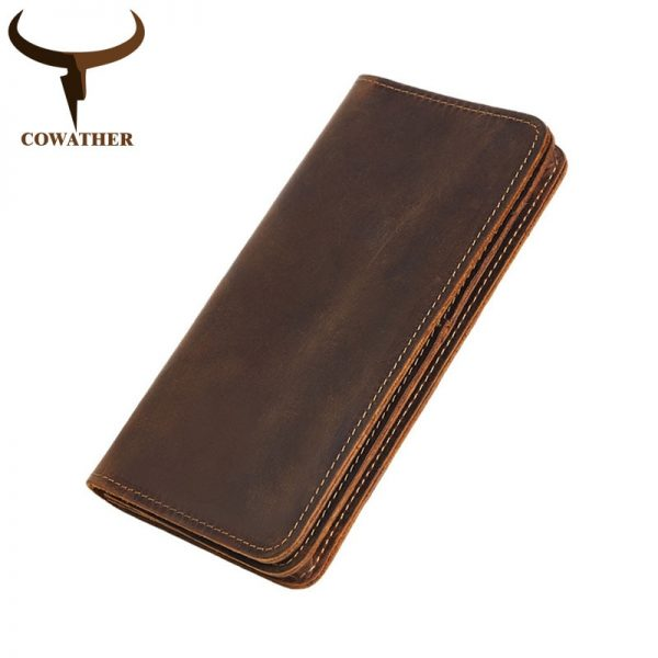 COWATHER  top cow genuine leather Crazy horse leather men wallet  long style high quality