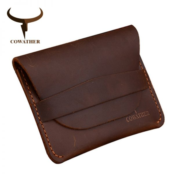 COWATHER  top quality Crazy horse genuine leather credit card holder for men new wallet for