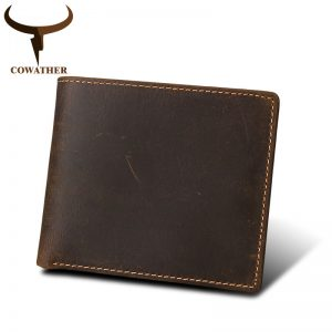 COWATHER   cow genuine Crazy horse leather mens wallet vintage short style high quality male