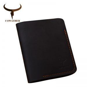 COWATHER   cow genuine leather men wallets vertical style Crazy horse leather newest desgin male