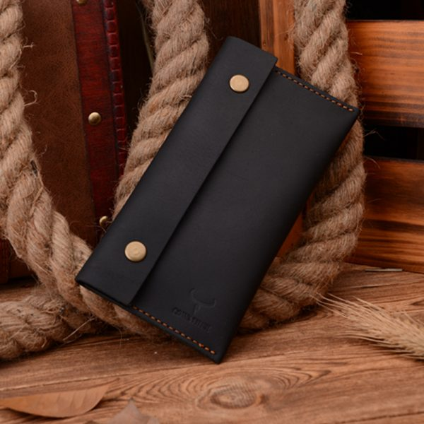 COWATHER  high grade Crazy horse leather fashion cow genuine leather men wallets long male purse