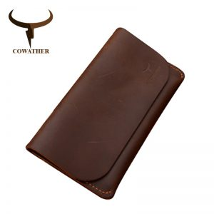 COWATHER  high grade cow genuine Crazy horse leather men wallets long black or coffee fashion