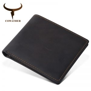COWATHER  high quality leather short wallets for men top cow genuine leather casual men wallet