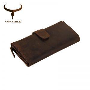 COWATHER genuine cow leather long mens alligator wallet for men vintage good male purseMulti card holding