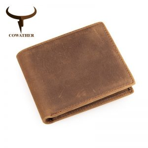 COWATHER genuine cow leather short mens wallet for men vintage good male purse  color free