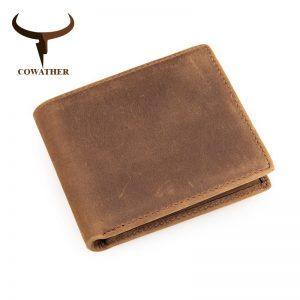 COWATHER genuine cow leather short mens wallet for men vintage good male purse  color free