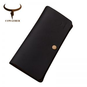 COWATHER good Crazy horse leather luxury men wallets  fashion long newest male purse  carteira