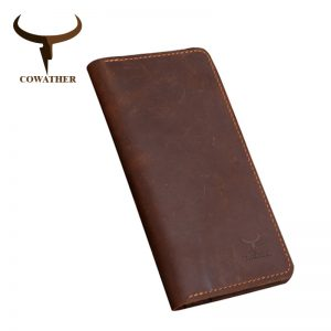 COWATHER high quality cow genuine Crazy horse leather men wallets  long style two color fashion