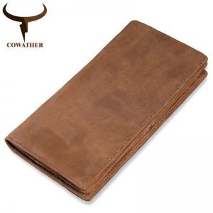 COWATHER high quality cow genuine leather wallet men  Crazy horse leather long style vintage men