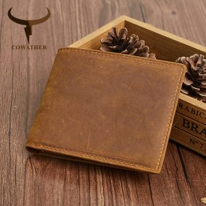 COWATHER high quality genuine leather short wallets for men RFID fashion men wallet good male purse