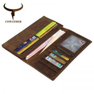 COWATHER mens wallet leather genuine  Crazy horse leather long style vintage men purse new design