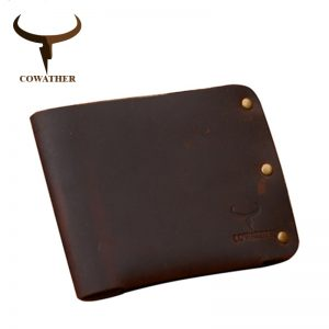 COWATHER newest  cow genuine leather men wallets Crazy horse leather purse dollor price carteira masculina