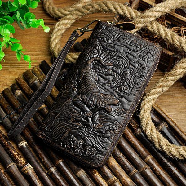 Cattle Male Genuine leather Fashion Card Holder Checkbook Zipper Around Organizer Wallet Purse Design Clutch Handbag