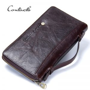 Contact s Cow Leather Men Casual Clutch Wallet Card Holder Zipper Purse With Passport Holder Phone