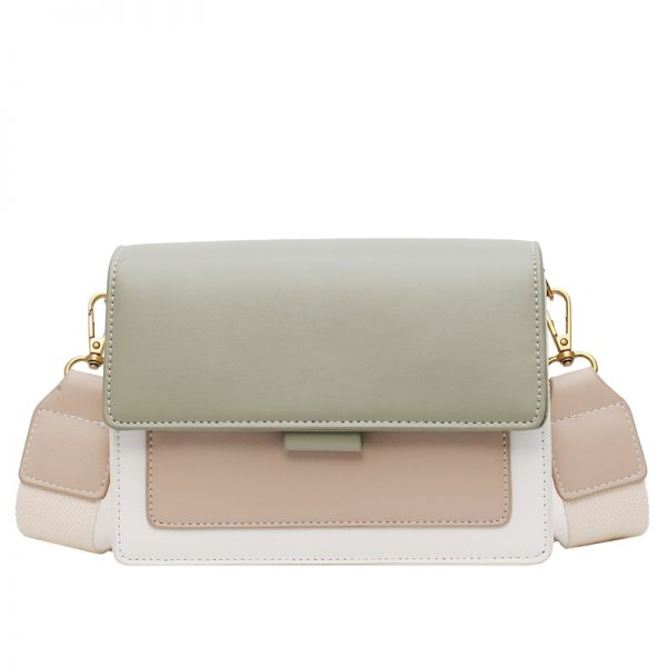 Contrast color Leather Crossbody Bags For Women  Travel Handbag Fashion Simple Shoulder Messenger Bag Ladies