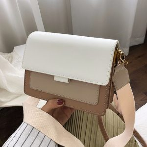 Contrast color Leather Crossbody Bags For Women  Travel Handbag Fashion Simple Shoulder Messenger Bag Ladies