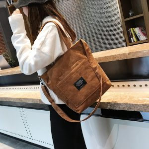 Corduroy Zipper Luxury Handbags Women Bags Designer Women Shoulder Bag Female Handbag Lady Messenger Bag Handbag