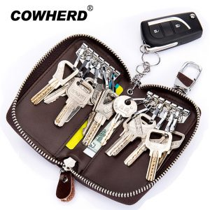 Cowherd Genuine Cow Leather Car Key Wallets Fashion Key Holder Credit Card Housekeeper Organizer Keychain Case