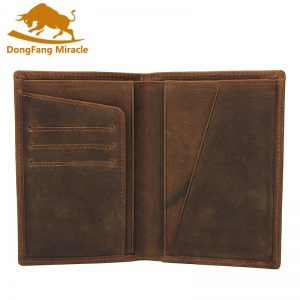 Crazy Horse Leather Bag Purse Retro Card Case Pack Long Passport Cover Business Men Cowhide Travel