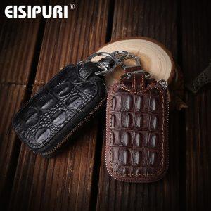 Crocodile pattern Genuine Leather Key Holder Organizer Men Car Key Wallets Housekeeper Male Keychain Covers Hasp