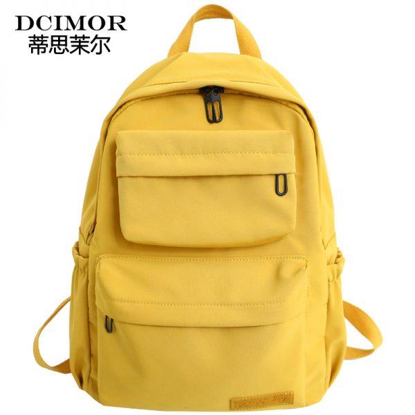 DCIMOR New Waterproof Nylon Backpack for Women Multi Pocket Travel Backpacks Female School Bag for Teenage