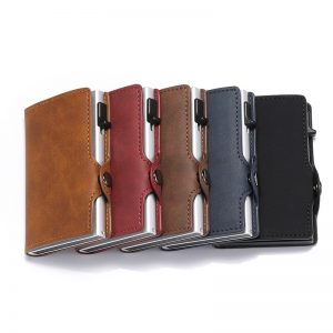 DIENQI Anti Rfid Credit Card Holder Case Men slide Leather id Card Holder Bank Aluminium Metal