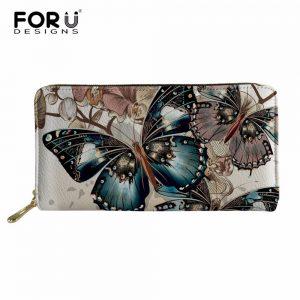 FORUDESIGNS Butterfly Long Wallet Women Purses Fashion Coin Purse Card Holder Wallets Female Clutch Money Bag