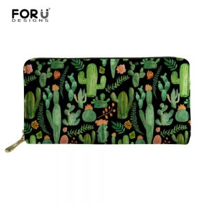 FORUDESIGNS Cactus Women PU Wallet Female Long Zipper Wallet Large Capacity Wallets Female Purse Lady Purse