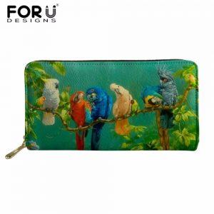FORUDESIGNS Parrot Women Long Clutch Wallet Large Capacity Wallets Female Purse Lady Purses Phone Pocket Card