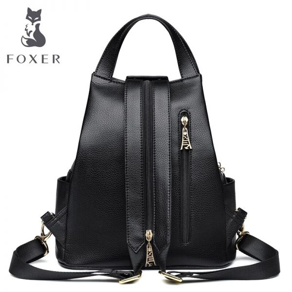 FOXER Brand Ladies Preppy Style Backpack Female Genuine Cow Leather Backpack Girl s School Bags Women
