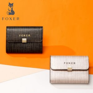 FOXER Brand Lady ID Case Short Style Mini Wallet Business Card Holder Female Purse Driver s