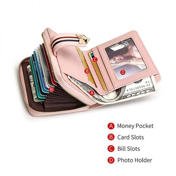 FOXER Brand Women Cow Leather Wallets Famous Designer Coin Purse Girl Fashion High Quality Short Wallet