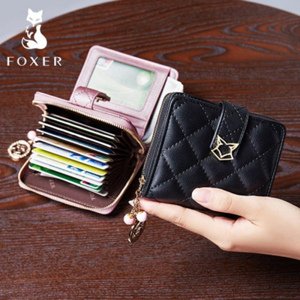 FOXER Brand Women Genuine Leather Short Wallet High Quality Girl s Wallets Fashion Female Wallet Purse