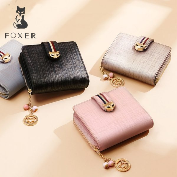 FOXER Brand Women Luxury Short Wallet Leather Simple Women s Purses Fashion Ladies High Quality Wallets