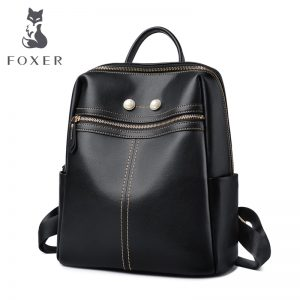 FOXER Brand Women Split Leather Travel Backpack Teenage Casual School Bag Large Capacity Female Fashion Backpack