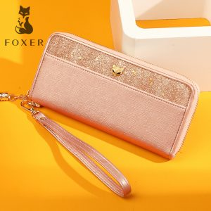 FOXER Brand Women s Leather Long Wallet Ladies Fashion Tessel Purse Female Cellphone Bag High Quality