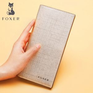 FOXER Women Cow Leather Long Wallet Fashion Classic Cellphone Bag Wallets for Women New Designer Ladies