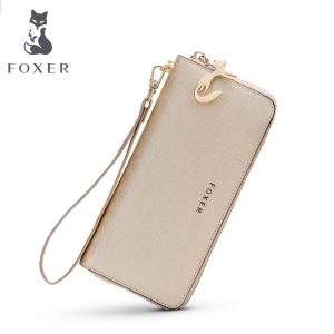 FOXER Women Cow Leather Long Wallet Fashion Wristlet Clutch Purse Cellphone bag with Wrist Strap Wallets