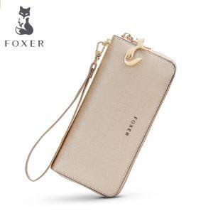 FOXER Women Cow Leather Long Wallet Fashion Wristlet Clutch Purse Cellphone bag with Wrist Strap Wallets