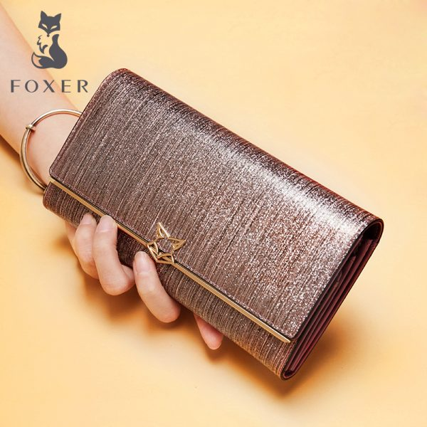 FOXER Women Fashion Leather Long Wallet Female Clutch Cellphone Bag Card Holder Lady Luxury Coin Purse